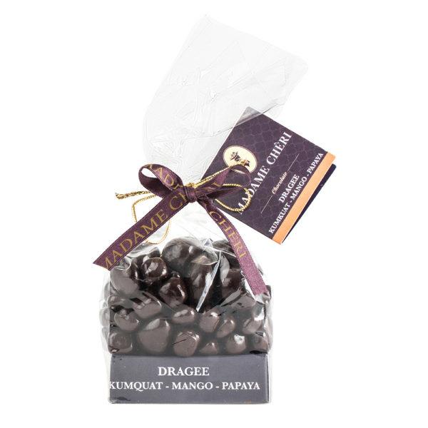 Schokoladendragee Kumquat Mango Papaya